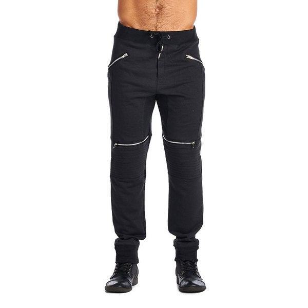 Indigo People Men's Black Cotton/Polyester 4-zip Joggers