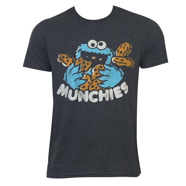 Sesame Street Men's Munchies Grey Cotton/Polyester Crewneck T-shirt