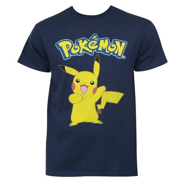 Pokemon Men's Pikachu Navy Blue Cotton T-Shirt