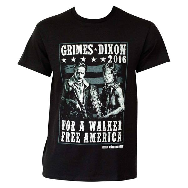 Men's 'The Walking Dead' Grimes Dixon 2016 Black Cotton/Polyester T-shirt