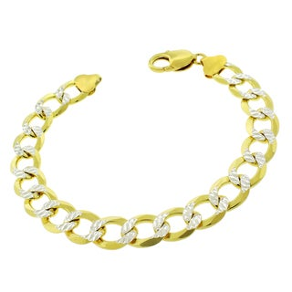 .925 Sterling Silver 10.5mm Solid Cuban Curb Link Gold-plated Diamond-cut ITProlux 9-inch Bracelet Chain
