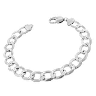 .925 Sterling Silver 10.5mm Solid Cuban Curb Link Diamond-cut ITProlux 9.5-inch Bracelet Chain