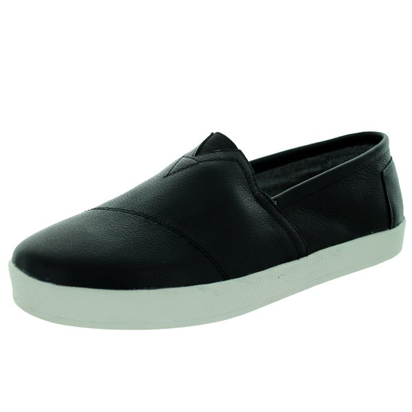 Toms Men's Leather Avalon Sneaker Black Casual Shoe