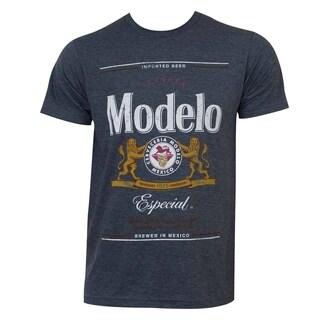 Men's Modelo Especial Grey Cotton/Polyester Logo Tee Shirt