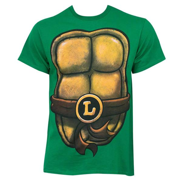 Teenage Mutant Ninja Turtles Men's Leonardo Green Cotton Costume T-shirt