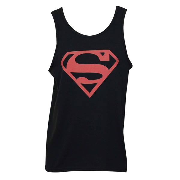 Superman Black/Red Logo Tank Top