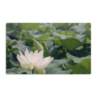 KESS InHouse Catherine McDonald 'White Lotus' Green White Artistic Aluminum Magnet