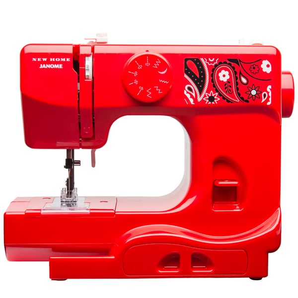 Janome Bandana Blush Basic, Easy-to-Use, 10-stitch Portable, 5 lb Compact Sewing Machine with Free Arm