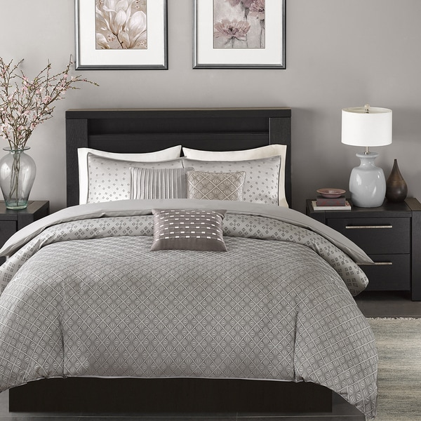 Madison Park Pensacola Silver Duvet Cover Set