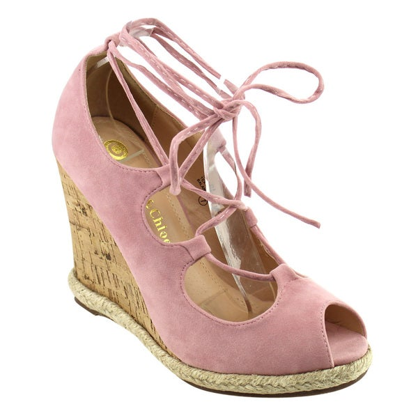 Chase & Chloe Women's Lace Up Wedge