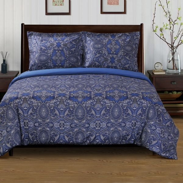 Superior 300 Thread Count Cotton Reversible Alderwood Navy Blue Duvet Cover Set