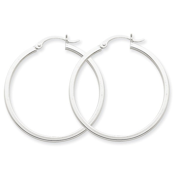 Versil 14k White Gold 2mm Square Tube Hoops