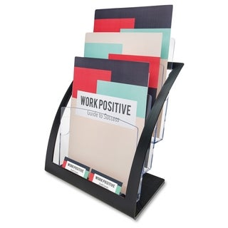 Deflect-o 3-tier Contemporary Magazine Holder - Black