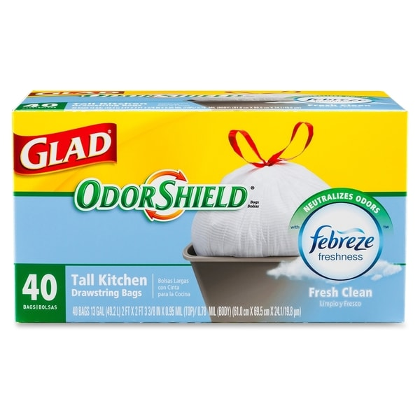 Glad OdorShield Fresh Clean Scent - White (40/Carton)