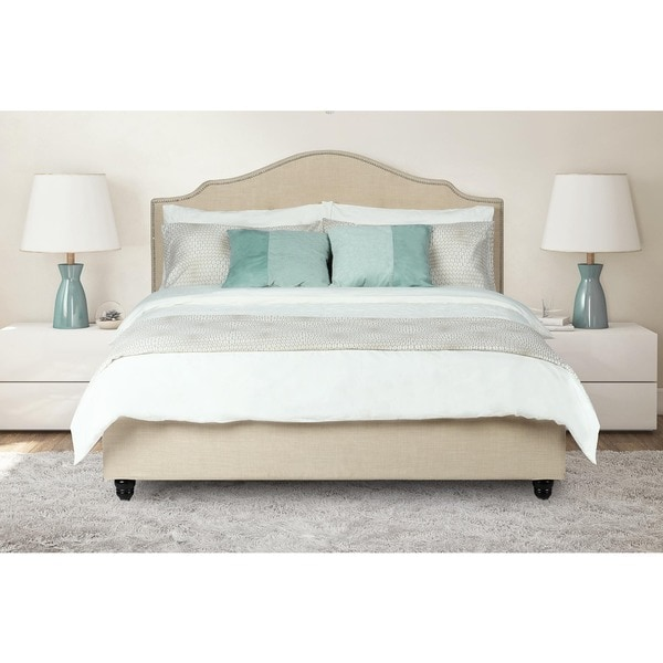 Avenue Greene Averna Beige Linen Upholstered King Bed with Nailhead Detail