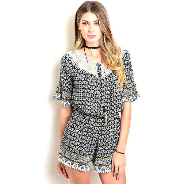 Shop The Trends Women's Geometric Patterned Rayon Short-Sleeve Romper with Crochet Neckline and Gathered Waistline