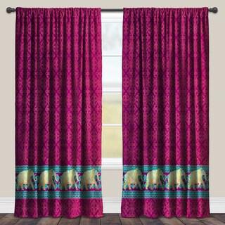 Laural Home Purple Polyester Moroccan Elephants Darkening Window Curtain