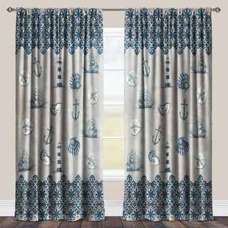 Laural Home Sailing the Ocean Blue Taupe and Blue Polyester Room Darkening Window Curtain