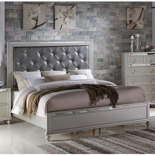 LYKE Home Nevaeh Silver Bed