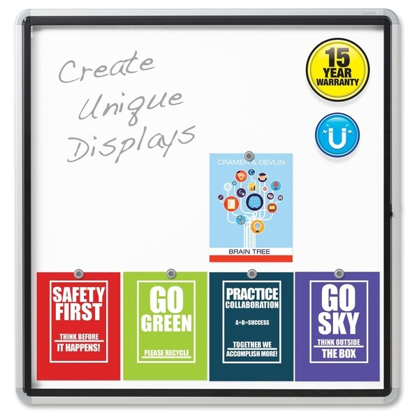Quartet Quartet Enclosed Magnetic Whiteboard - Aluminum