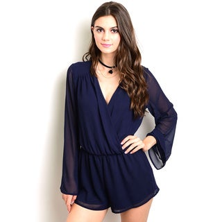 Shop the Trends Women's Blue Polyester Long Bell Sleeve Chiffon Romper