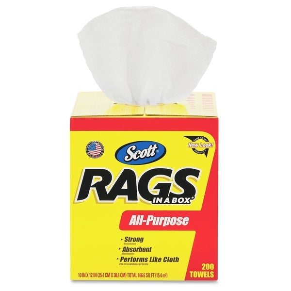 Scott Rags in a Box, 200 Towels - White (200/Carton)