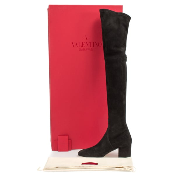 Valentino Suede Over The Knee Boots in Black
