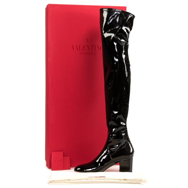 Valentino Patent Leather Over The Knee Boots in Black
