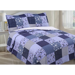 Floral Patchwork and Sherpa Reverse Quilt Set