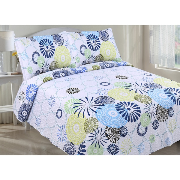 Rachel Oversized Geometric Floral Quilt Set