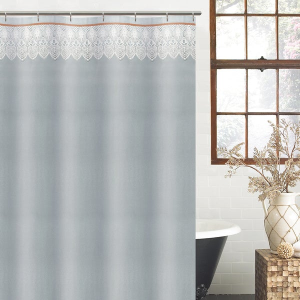 Excell Light Blue Abbey Shower Curtain