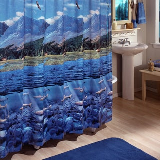 Excell Multi-colored Riverbed Shower Curtain
