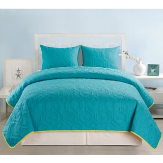 Ashley Teal and Yellow Coastal Reversible 3 Piece Bedspread