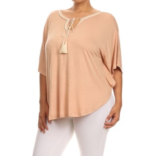 MOA Collection Women's Tan/Beige Polyester/Spandex Plus Size Crochet Lace Top