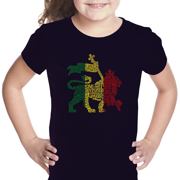 Los Angeles Pop Art Girls' Rasta Lion One Love Multicolor Cotton T-shirt