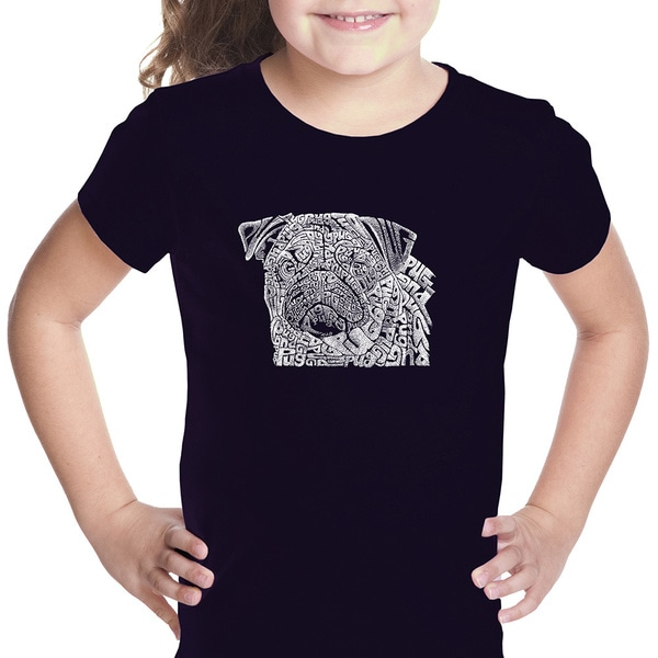 Girls' Pug Face Cotton Short-sleeve Graphic T-shirt