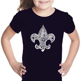 Los Angeles Pop Art Girl's Black Cotton Graphic T-shirt