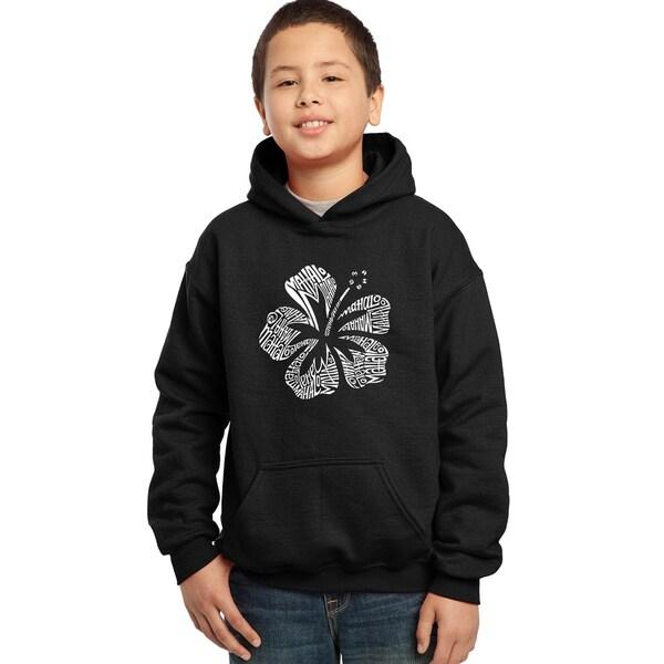 Los Angeles Pop Art Boy's Black Cotton, Polyester Graphic Hooded Sweatshirt
