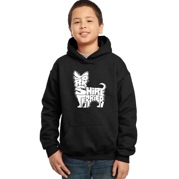 Los Angeles Pop Art Boys' Yorkie Blue/Red/Black Cotton/Polyester Hooded Sweatshirt