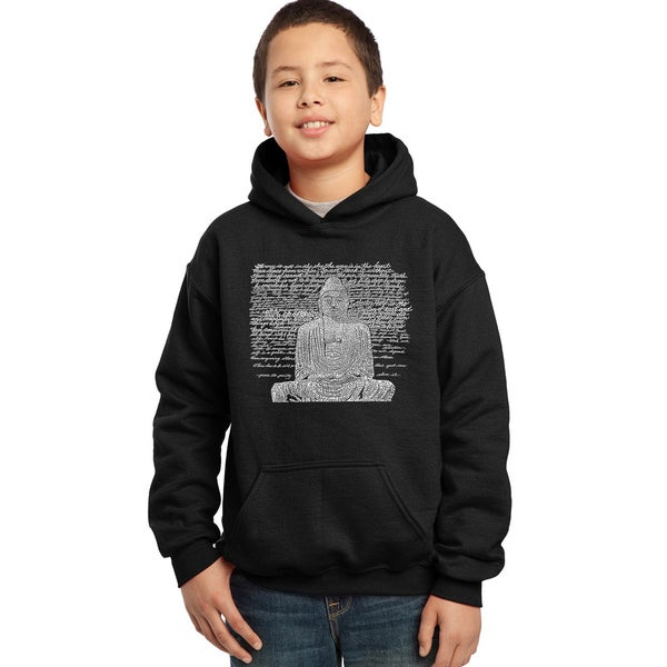 Los Angeles Pop Art Boys' Zen Buddha Blue/Red/Black Cotton/Polyester Hooded Sweatshirt