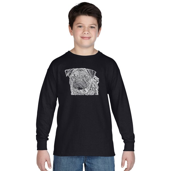 Boys' Pug Face Cotton Long-sleeve T-shirt Medium Size in Black(As Is Item)