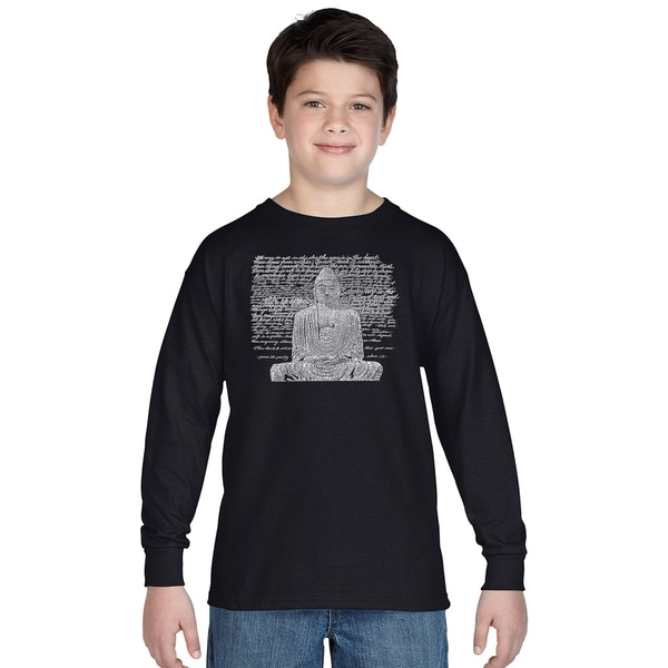 Boy's Zen Buddha Cotton Long-sleeve Crew-eck T-shirt