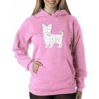 Los Angeles Pop Art Women' Yorkies Blue/Pink Polyester Hooded Sweatshirt