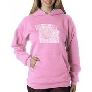 Los Angeles Pop Art Women's Pug Face Blue/Pink Polyester Hooded Sweatshirt