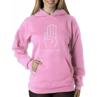 Los Angeles Pop Art Women's Girl Scout Law Blue/Pink Polyester Hooded Sweatshirt