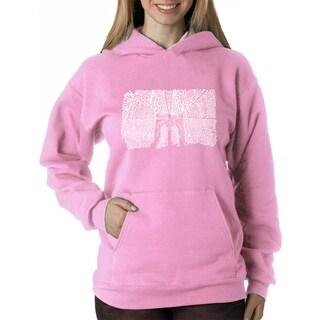 Los Angeles Pop Art Women's Brooklyn Bridge Blue/Pink Polyester Hooded Sweatshirt