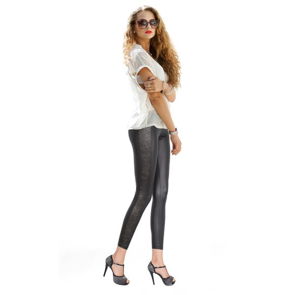 Pierre Cardin Women's Fontana Black Polyester/Spandex Wet-look Leggings with Snakeskin Panel