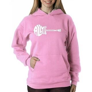 Los Angeles Pop Art Women's All You Need Is Love Pink Polyester Hooded Sweatshirt