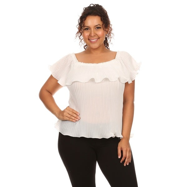 Hadari Plus size chiffon off shoulder top