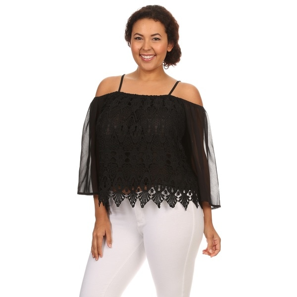 Hadari Plus size lace off shoulder 3/4 sleeve top